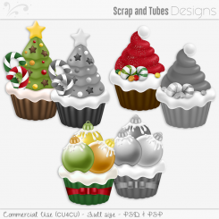 Holiday Cupcakes Grayscaled Templates (CU4CU)
