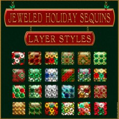 Jeweled Holiday Sequins PS Layer Styles (CU4CU, CU)