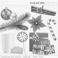 Happy Holidays Grayscaled Templates 3 (CU4CU)